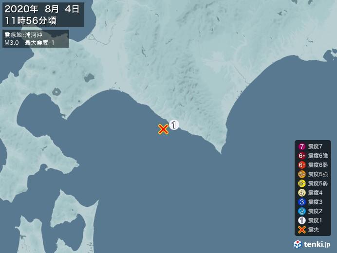 地震情報(2020年08月04日11時56分発生)
