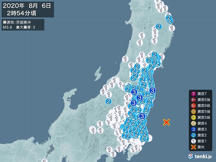 地震情報(2020年08月06日02時54分発生)