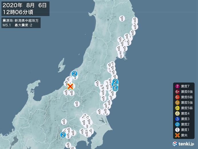 地震情報(2020年08月06日12時06分発生)