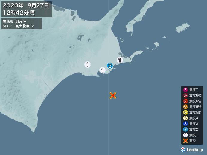 地震情報(2020年08月27日12時42分発生)