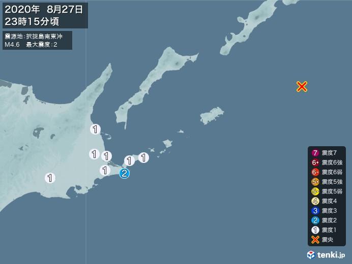 地震情報(2020年08月27日23時15分発生)