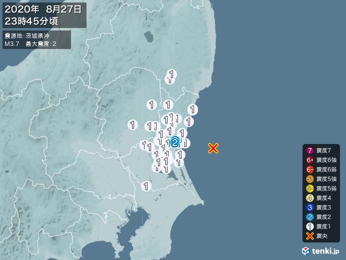 地震情報(2020年08月27日23時45分発生)