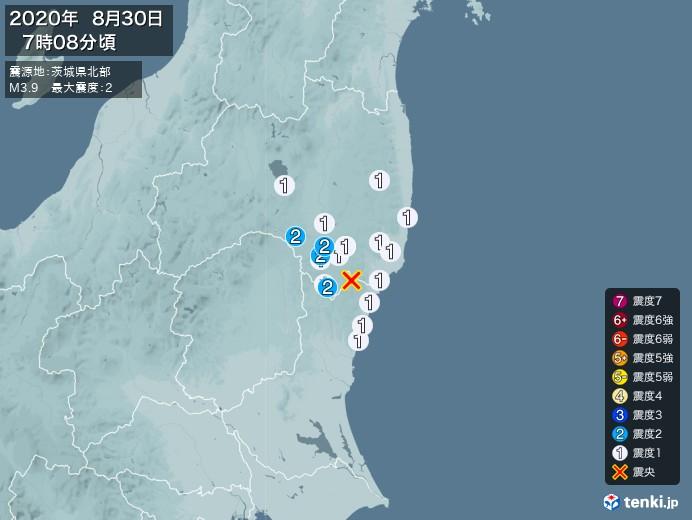 地震情報(2020年08月30日07時08分発生)