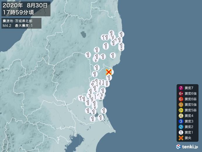 地震情報(2020年08月30日17時59分発生)