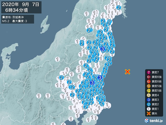 地震情報(2020年09月07日06時34分発生)