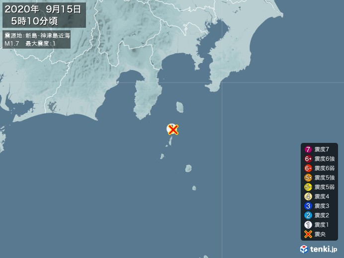 地震情報(2020年09月15日05時10分発生)