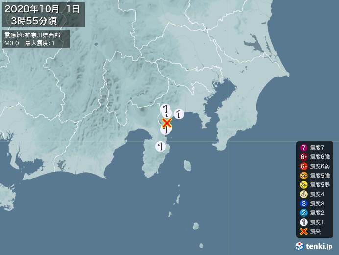 地震情報(2020年10月01日03時55分発生)