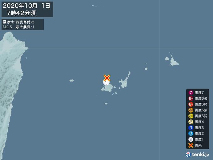 地震情報(2020年10月01日07時42分発生)