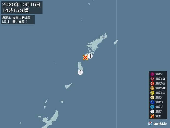 地震情報(2020年10月16日14時15分発生)