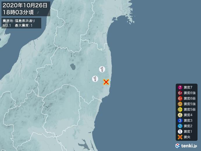 地震情報(2020年10月26日18時03分発生)