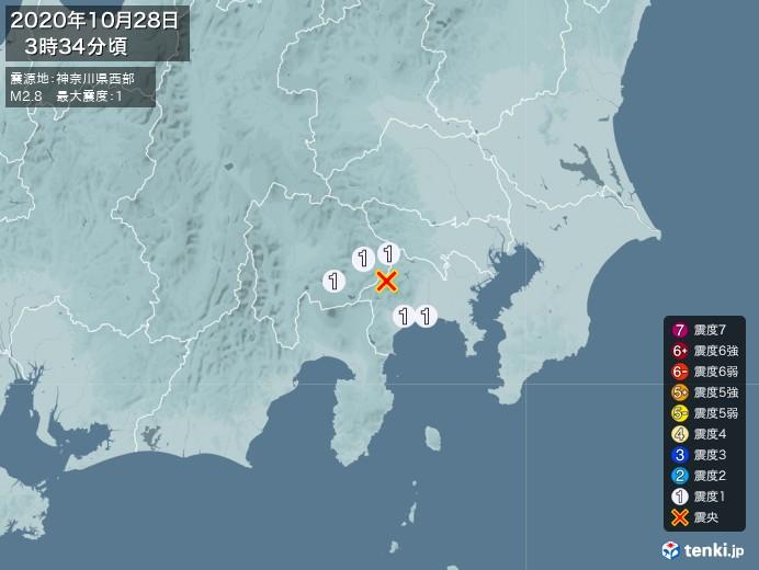 地震情報(2020年10月28日03時34分発生)