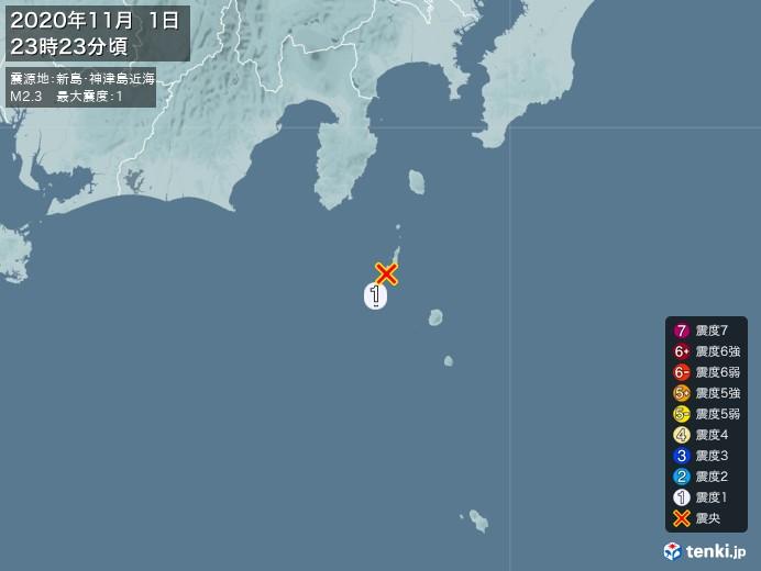 地震情報(2020年11月01日23時23分発生)