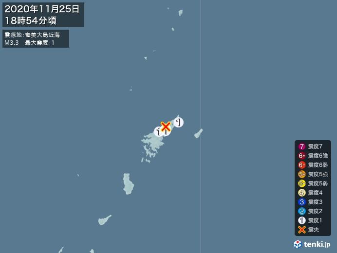 地震情報(2020年11月25日18時54分発生)
