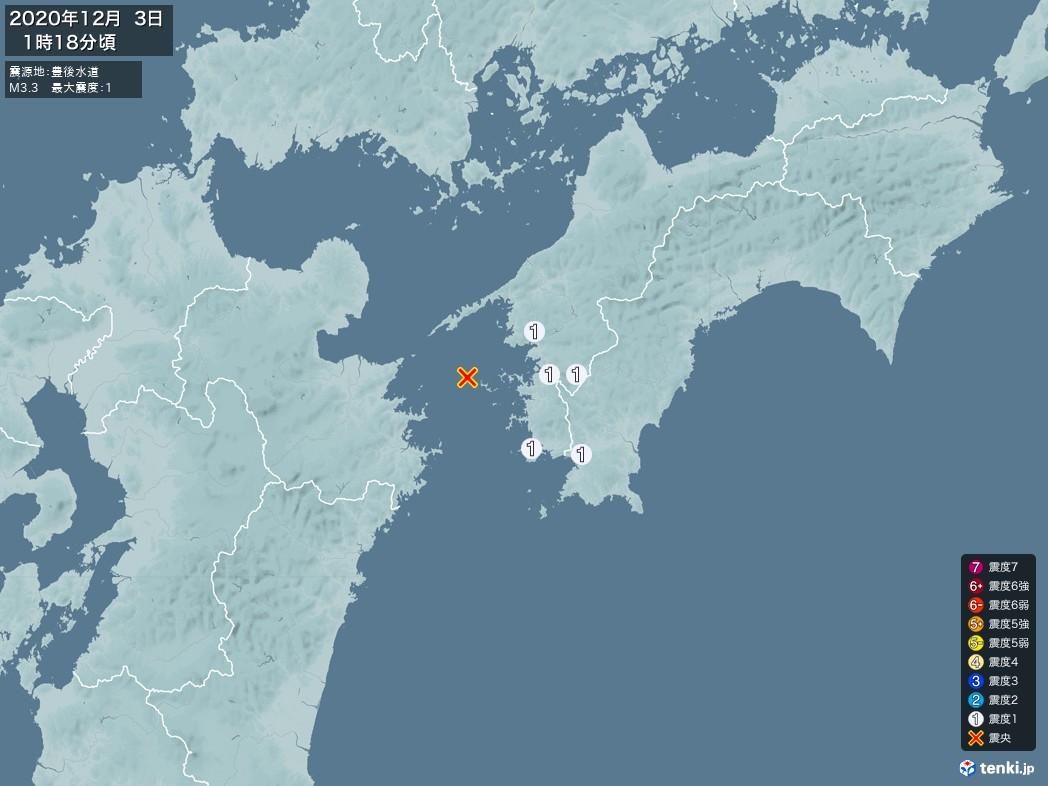 地震情報 2020年12月03日 01時18分頃発生 最大震度:1 震源地:豊後水道(拡大画像)