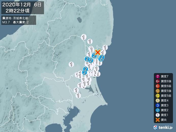 地震情報(2020年12月06日02時22分発生)