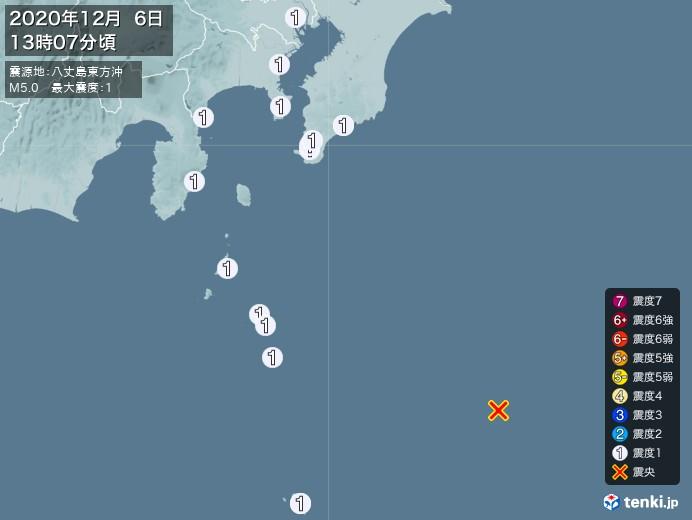 地震情報(2020年12月06日13時07分発生)
