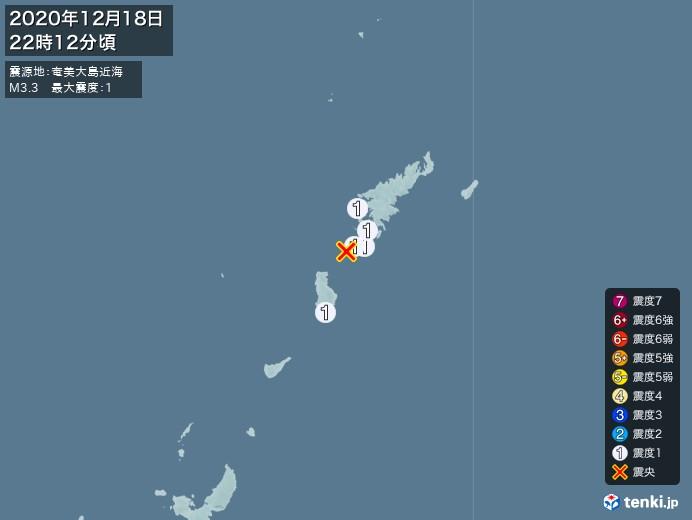 地震情報(2020年12月18日22時12分発生)