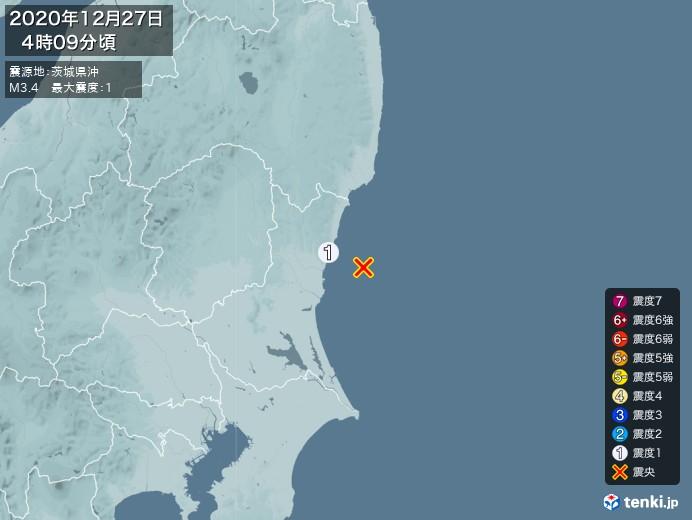 地震情報(2020年12月27日04時09分発生)