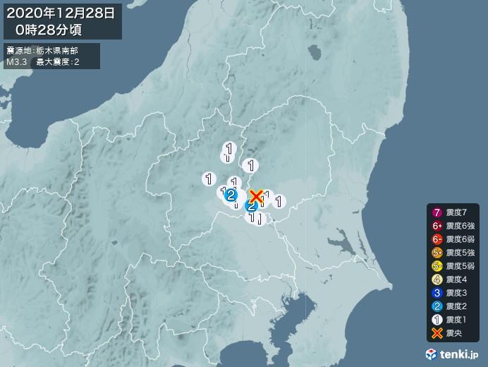 地震情報(2020年12月28日00時28分発生)