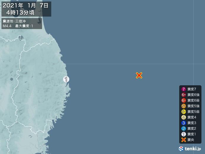 地震情報(2021年01月07日04時13分発生)