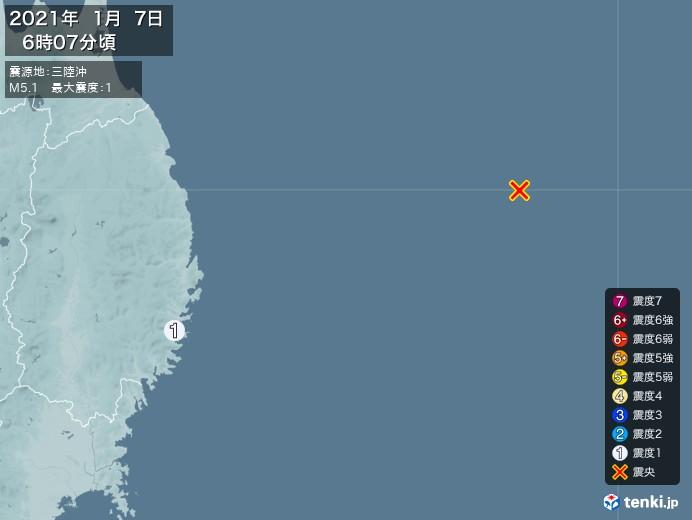 地震情報(2021年01月07日06時07分発生)