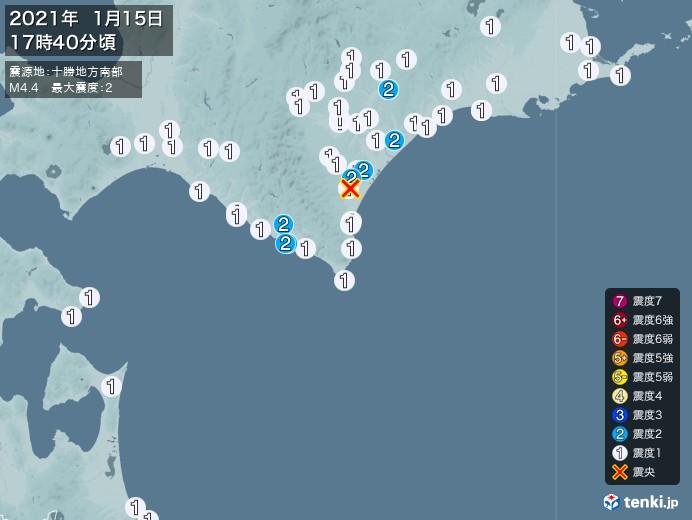 地震情報(2021年01月15日17時40分発生)