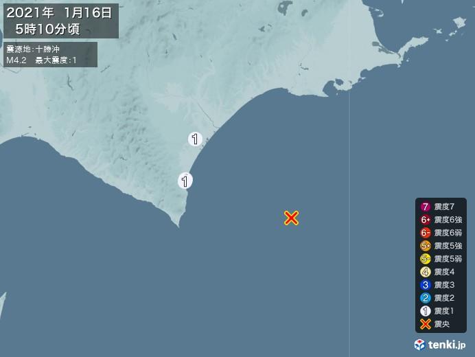 地震情報(2021年01月16日05時10分発生)