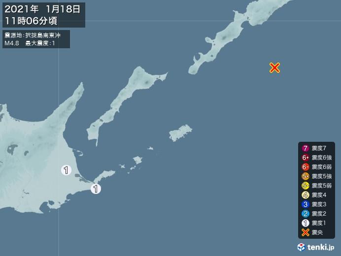 地震情報(2021年01月18日11時06分発生)