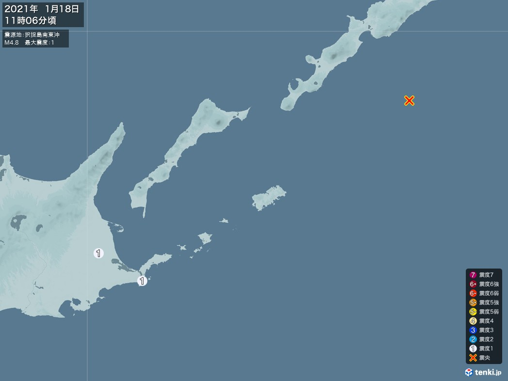 地震情報 2021年01月18日 11時06分頃発生 最大震度:1 震源地:択捉島南東沖(拡大画像)