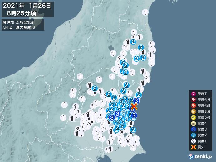 地震情報(2021年01月26日08時25分発生)
