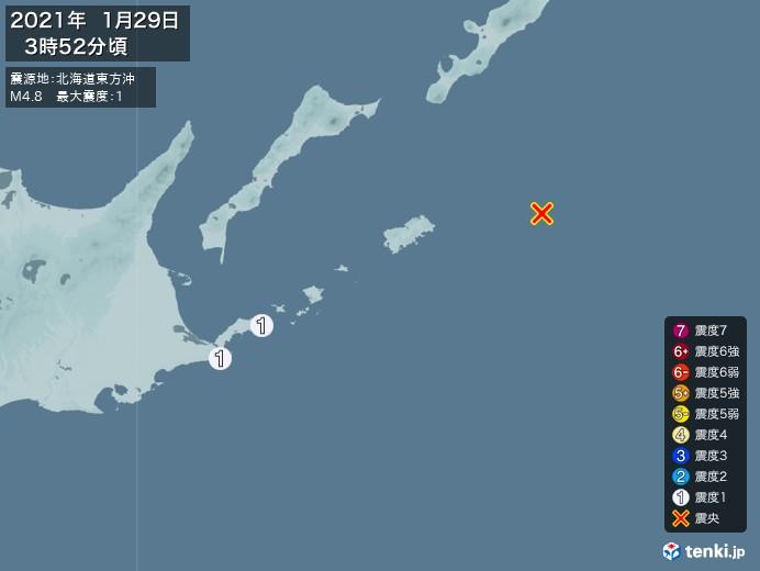 地震情報(2021年01月29日03時52分発生)
