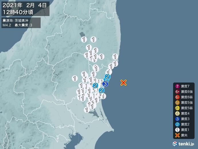地震情報(2021年02月04日12時40分発生)