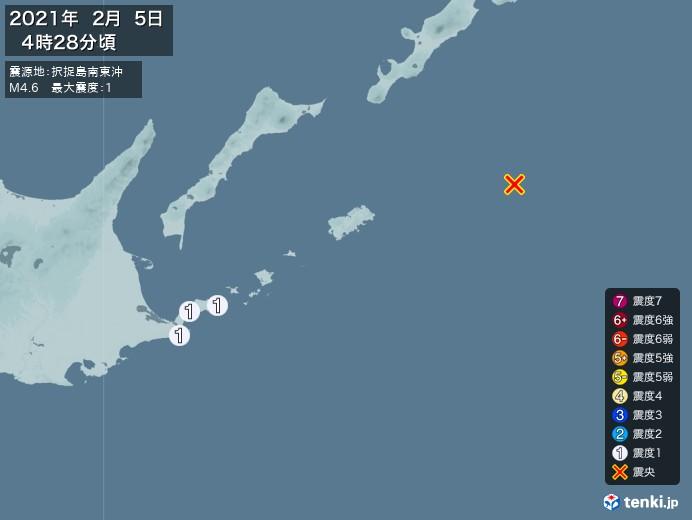 地震情報(2021年02月05日04時28分発生)