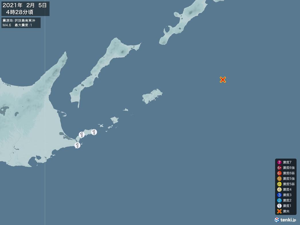 地震情報 2021年02月05日 04時28分頃発生 最大震度:1 震源地:択捉島南東沖(拡大画像)