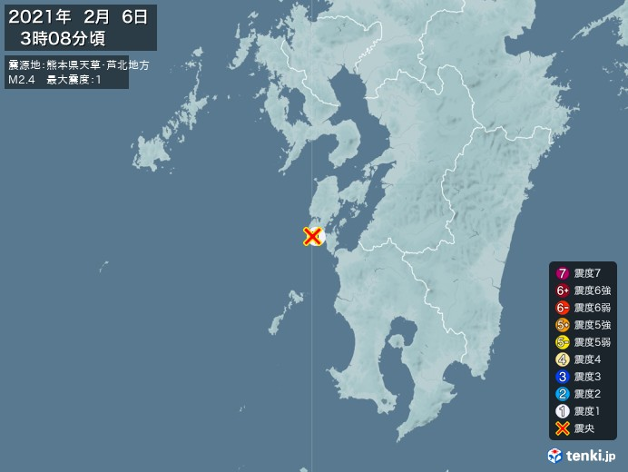 地震情報(2021年02月06日03時08分発生)