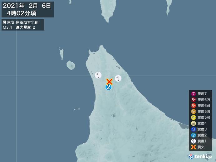 地震情報(2021年02月06日04時02分発生)
