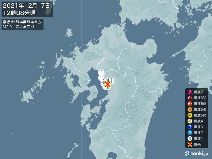 地震情報(2021年02月07日12時08分発生)