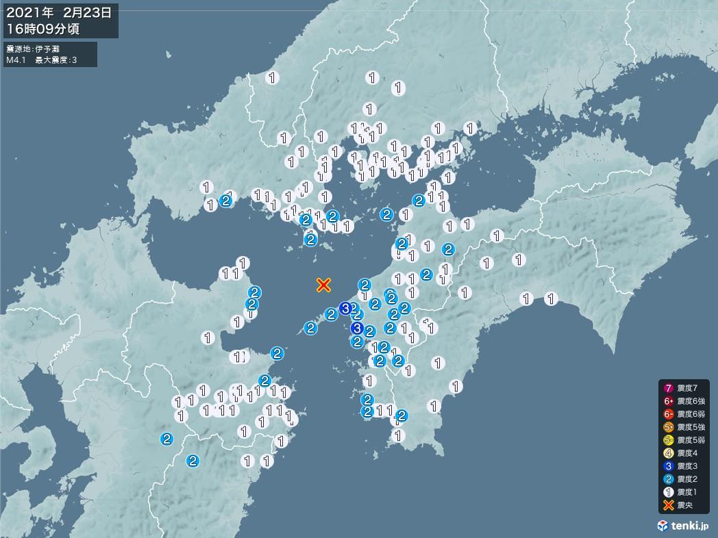地震情報 2021年02月23日 16時09分頃発生 最大震度:3 震源地:伊予灘(拡大画像)