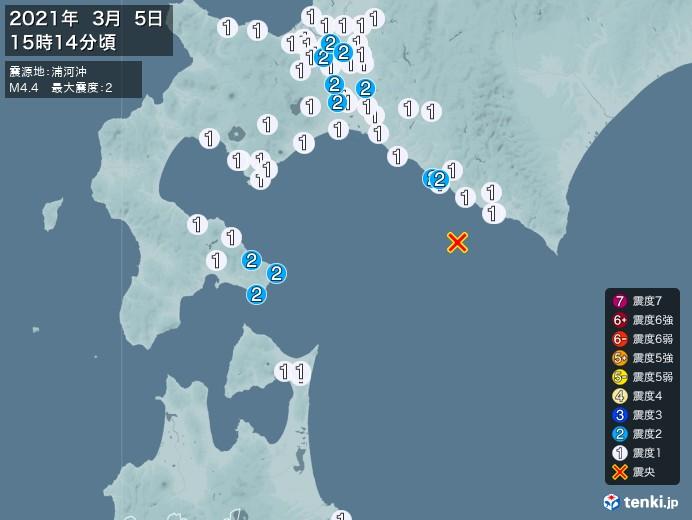 地震情報(2021年03月05日15時14分発生)