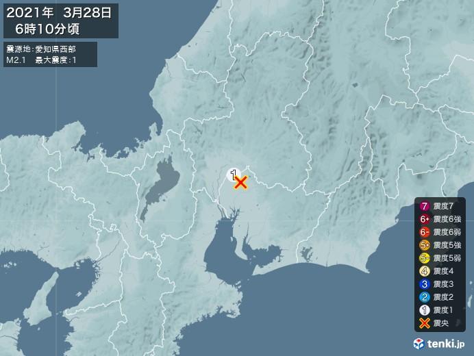 地震情報(2021年03月28日06時10分発生)