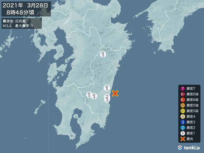 地震情報(2021年03月28日08時48分発生)