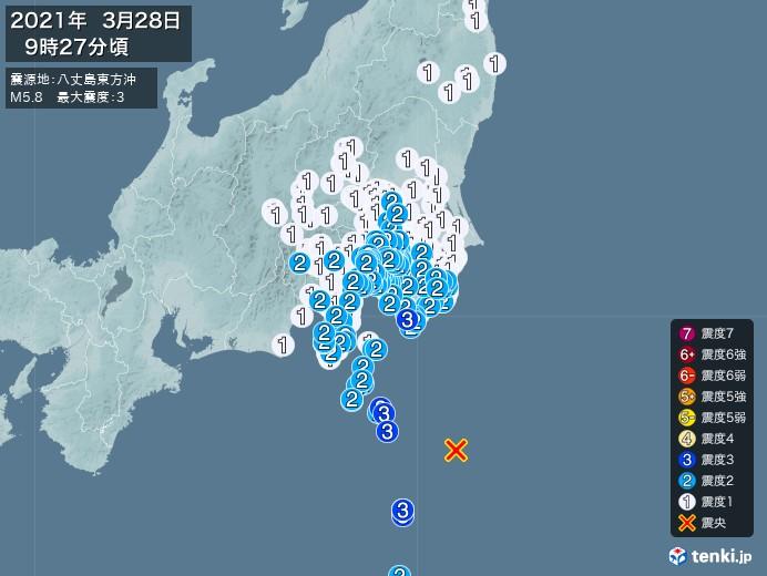 地震情報(2021年03月28日09時27分発生)