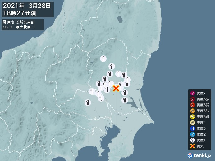 地震情報(2021年03月28日18時27分発生)
