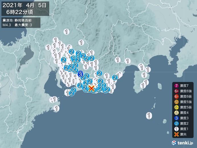 地震情報(2021年04月05日06時22分発生)