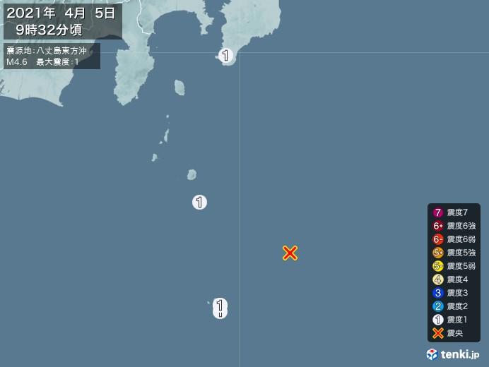 地震情報(2021年04月05日09時32分発生)