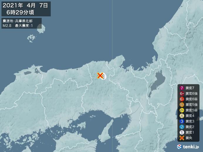 地震情報(2021年04月07日06時29分発生)