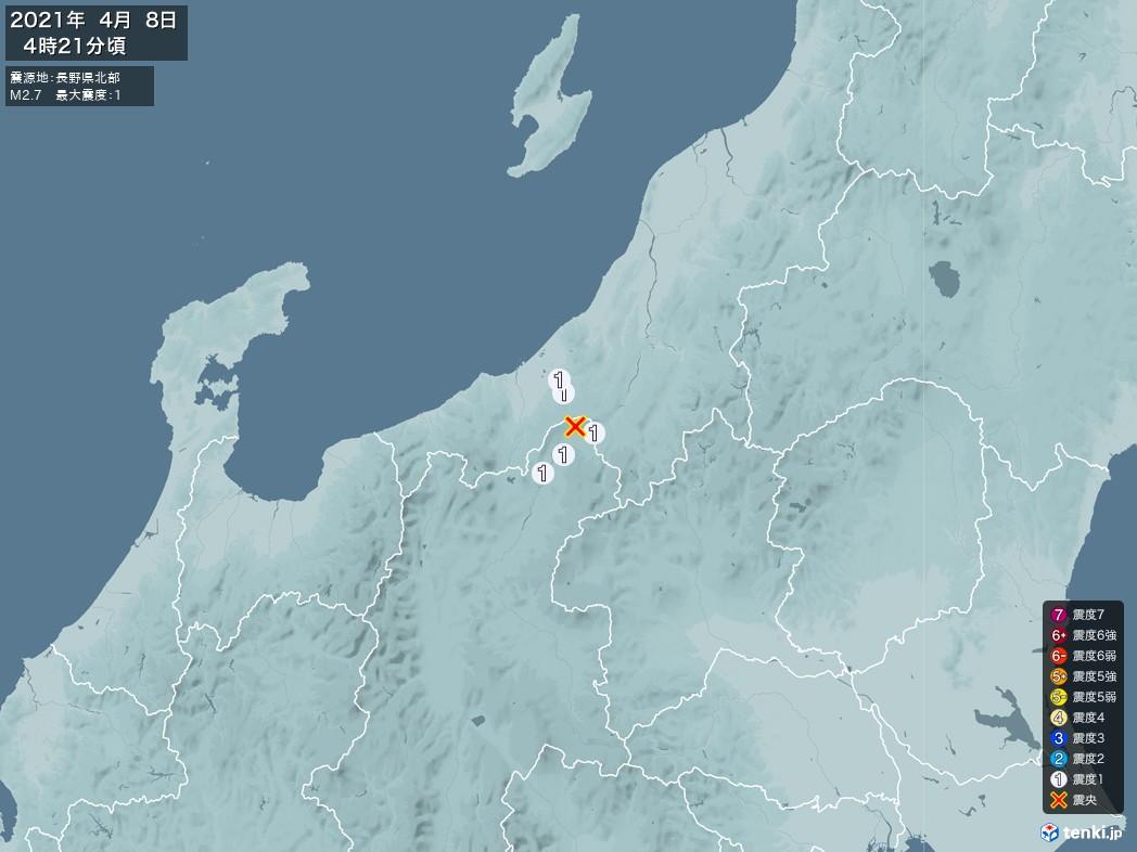 地震情報 2021年04月08日 04時21分頃発生 最大震度:1 震源地:長野県北部(拡大画像)