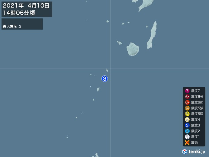 地震情報(2021年04月10日14時06分発生)