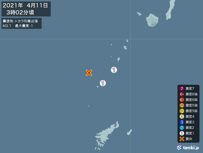 地震情報(2021年04月11日03時02分発生)
