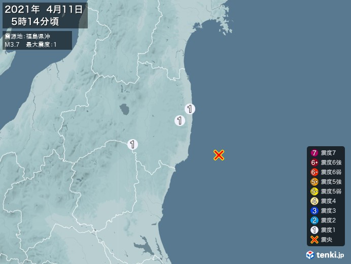 地震情報(2021年04月11日05時14分発生)